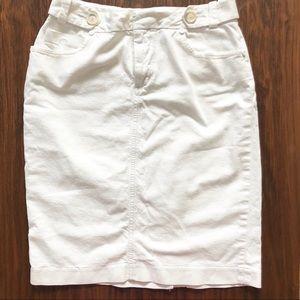 BANANA REP | White Denim Pencil Skirt with Pockets